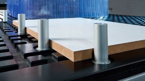 Highly flexible nesting table - Nesting technology allows optimized processing and cutting of panel materials.